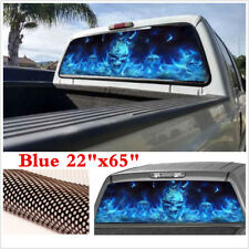 "22""x65"" Large Flaming Skull Sticker Car Rear Window Graphic Decal for Truck SUV"