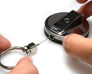 Heavy Duty STEEL WIRE Cord Extra Large Badge Reel with Key Ring to hang Keys