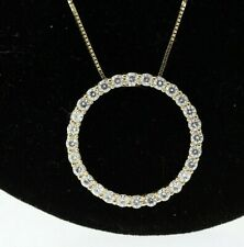 14k Yellow Gold .65ct Round 2.25mm Moissanite Circle Pendant Necklace 18 Inches