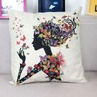 Floral Girl Cushion Cover Cotton Linen Throw Pillow Case Home Bed Sofa Car Decor