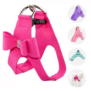 Cute Bow Pet Dog Harness Leash No Pull Soft Adjustable Puppy Cat Vest Walking