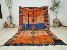 Moroccan Vintage Boujaad Handmade Wool Rug 5'2x8'5  Berber Tribal Orange Carpet