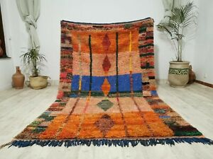 Moroccan Vintage Boujaad Handmade Wool Rug 5'2x8'5  Berber Tribal Orange Carpet
