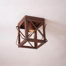 primitive new Rusty tin open folded bar single ceiling light / nice