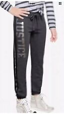 Justice Girls Size 8 Striped Active Skinny Jogger Pants Gray