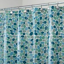 "mDesign Pebble Print - Waterproof PEVA Shower Curtain - 72"" x 72"" - Blue"