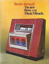 "Brochure Juke Box ""Music Miracle"" - Rowe AMI International 1968 Printed in USA"