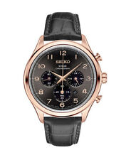 Seiko Men's Solar Chronograph Rose Gold Tone Black Leather Strap Watch SSC566