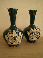 PAIRE DE VASES ANCIEN FLEUR BISCUIT DECORATION CERAMIQUE