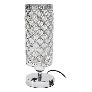 Modern Bedside Table Lamp  Lounge Crystal Light  Lampshade W/ 2 USB Ports