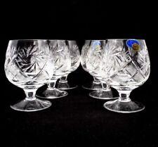 SET of 6 x 7 oz. Russian Cut Crystal Cognac Brandy Snifter, Vintage Glasses