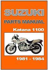 SUZUKI Parts Manual GSX1100S GS1100S Katana 1981 1982 1983 & 1984 Spares Catalog