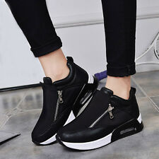 Womens Fashion Trainers Slip On High Top Sneakers Comfy Hidden Heel Sports Shoes
