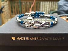NEW ALEX and ANI VINTAGE 66 MIDNIGHT Blue DECORATIF SILVER Beaded Wrap BRACELET