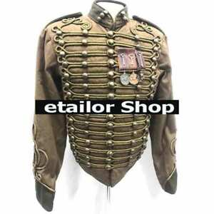 New Men's Military Army Distressed Brown Hussar jacket with gold cord Braiding