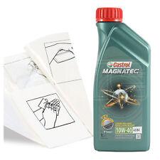 Engine Oil Top Up 1 LITRE Castrol Magnatec 10w-40 1L +Gloves,Wipes,Funnel