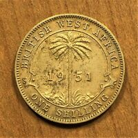 1951 British West Africa Shilling, King George VI, KM# 28, XF details