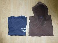 2 x Basic Pullover Mädchen/Damen Gr.XS/S Hoodie Braun/Blau Pulli Langarmsweater