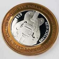 New Listing2001 G Hard Rock Hotel Casino Silver Strike $10 Gretsch Copper Rim Token ∞Hr0111