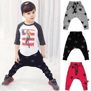 Kids Boys Harem Pants Star Print Trousers Leggings Sports Sweatpants Age 2-7Y