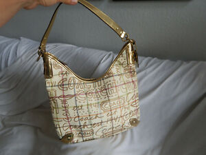COACH CARRIAGE COATED PLAID GOLD LEATHER TRIMS HOBO BAG