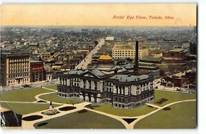 Birds Eye View of TOLEDO, OHIO - c1910 Postcard w/ 1917 Stamp Increase for WWI