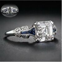Women Jewelry 925 Silvering Ring Princess Cut White Wedding Gift Sapphire Bridal