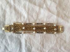Luxury gold plated elegant ladies bracelet with fake pearls brand new
