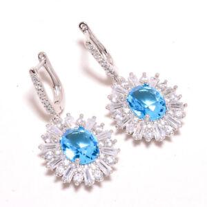 """Blue Topaz & White Topaz 925 Sterling Silver Jewelry Earring 1.42"""" F2526"""