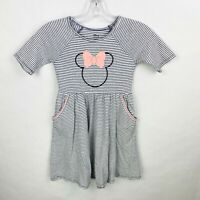 Disney Jumping Beans Girls Size 6X Minnie Mouse Striped Dress Pockets