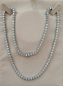 Real Diamond Eternity Tennis Necklace 8.00ct 14k White Gold 17 INCH Womens