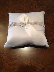 """Ring Bearer Bling Square Pillow Hortense B. Hewitt Co. with Rhinestones 8""""x8"""""""