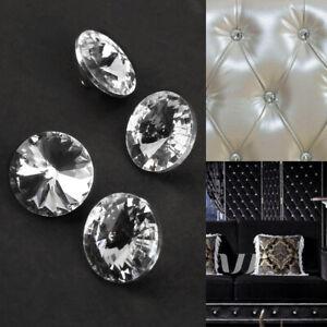100x Kristall Bett Sofa Button 25mm Nägel Polster Kopfbrett Knopf Polsterkopftei