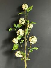 White & Green Artificial Snowball Hydrangea Spray, Realistic Faux Silk Greenery