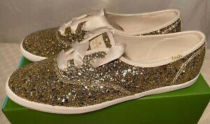 Kate Spade Womens Keds Champion Glitter Platinum Trainers 3.5 4.5 6.5 rrp £75