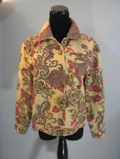 St John Sport Marie Gray Denim Jacket Floral Roses Casual Jean Jacket SZ S
