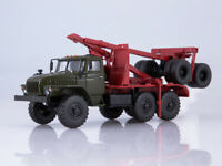 Scale model truck 1:43 URAL-43204-10 timber truck with trailer