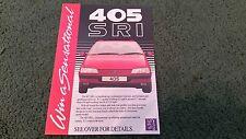1988 PEUGEOT 405 WIN A SENSATIONAL 405 SRI COMPETITION UK SMALL LEAFLET BROCHURE