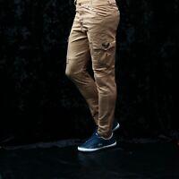 Mens Stretch Slim Fit Cargo Pocket Designer Combat Trousers Cotton