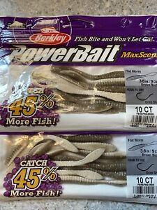 Berkley PowerBait MaxScent Flat Worm- 2 New Packs- Brown Back
