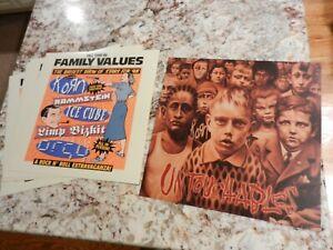 "FAMILY VALUES Limp Bizkit Rammstein KORN Ice Cube promo flat LOT 12"" x 12 poster"