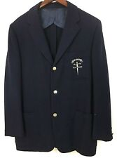 Vintage Holy Cross Mens Blazer Robert Rollins Blue In Hoc Signs Vinces Size 42R
