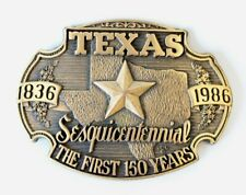 Texas Sesquicentennial 1836-1986 The First 150 Years Solid Brass Belt Buckle