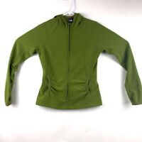The North Face Polartec Classic Womens Hooded Jacket Green Thumbholes Zip Up S