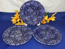 "Queen's CALICO BLUE ENGLAND Bread & Butter Plates 7 1/8"" Set Of 3"