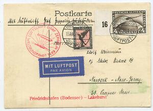 Deutsches Reich Zeppelin Postkarte Weltrundfahrt 1929 Newark USA