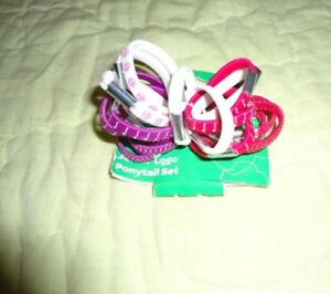 NEW Girl Scouts*Ponytail Hair Band Set*18 pieces*Pink*Purple*White*JUNIOR Logo
