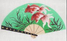 Elegant FAN Oriental Koi Goldfish on Teal handpainted Needlepoint Canvas by LEE
