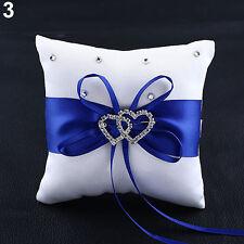 Stylish Wedding Bridal Bowknot Double Heart Ring Bearer Pillow Cushion