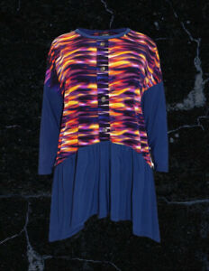 BN Evans Blue Paradise Graphic Print Shirred Drop Side Tunic Size 20